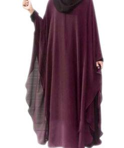 Maroon color 2 in 1 layered kaftan abaya
